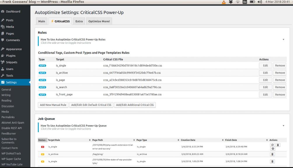 Autoptimize CriticalCSS.com Power-Up settings