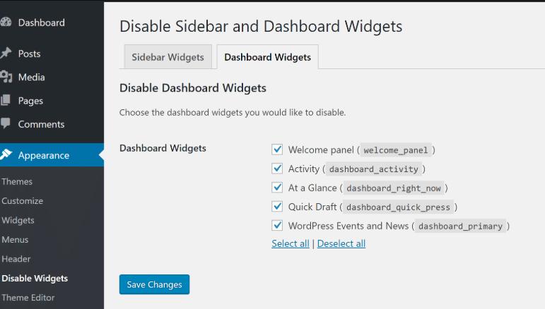 Disable unused dashboard widgets