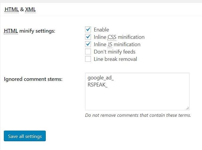 HTML & XML settings