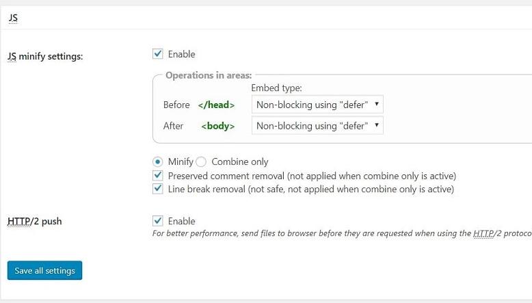 JS settings