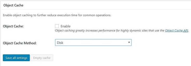 Object Cache settings