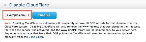Turn off Cloudflare entirely