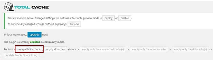 Check the W3 Total Cache Plugin compatibility