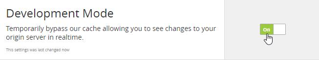 Turn on Development Mode