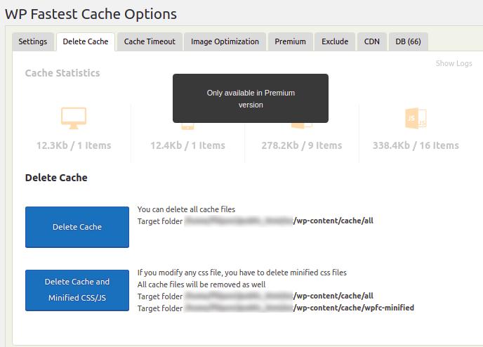 Delete Cache Tab configuration