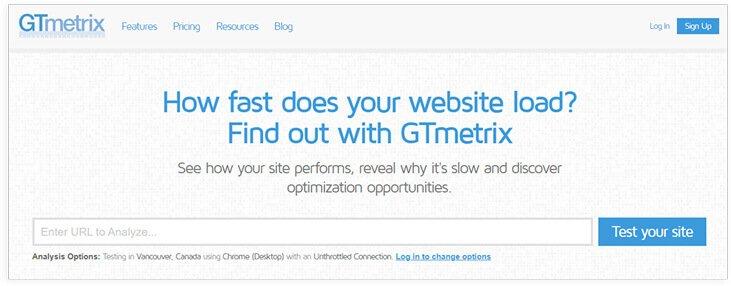 GTmetrix speed optimization tool
